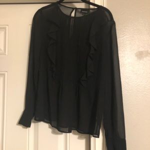 Who What Wear Tops - Sheer blouse with ruffle and pintuck detail